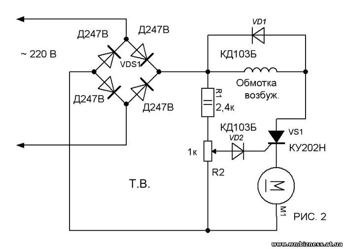 Тиристорная схема для коллекторного двигателя постоянного тока